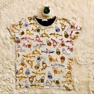 {Bershka}Great White shark t-shirt size small